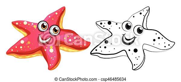 Esbozo Animal Para Estrellas De Mar Con Cara Feliz Esbozo