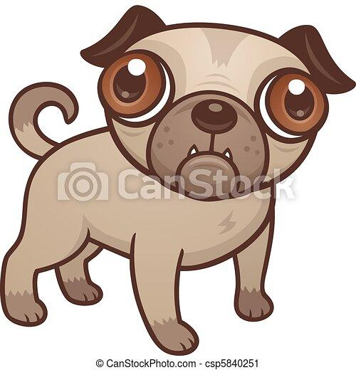 Carlin chiot dessin anim mignon brun grand chien - Bulldog dessin anime ...