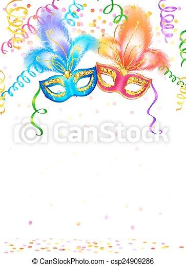 Máscaras de carnaval brillantes con confeti y serpentina sobre fondo blanco - csp24909286