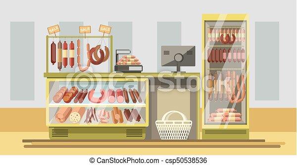 carne, contatore, supermercato, prodotti, dipartimento, fresco - csp50538536