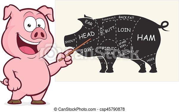 carne di maiale, tagli, presentazione - csp45790878