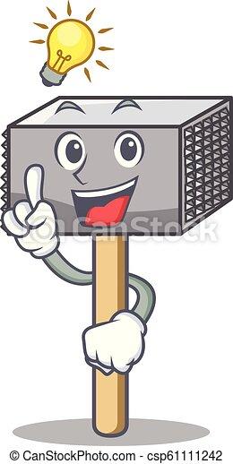 Tener una idea de martillo de carne utensilio aislado en mascota - csp61111242