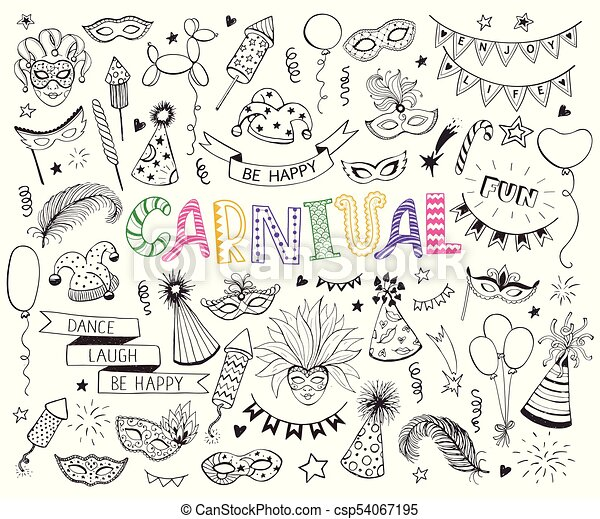 c86f971a519 Carnival doodle set. Hand drawn carnival objects set isolated on ...