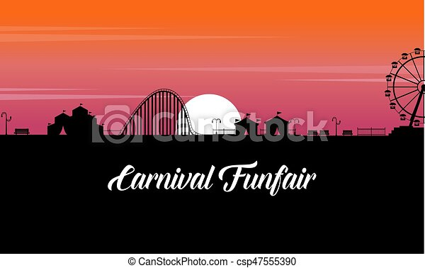 Carnival funfair scenery at sunset silhouette - csp47555390