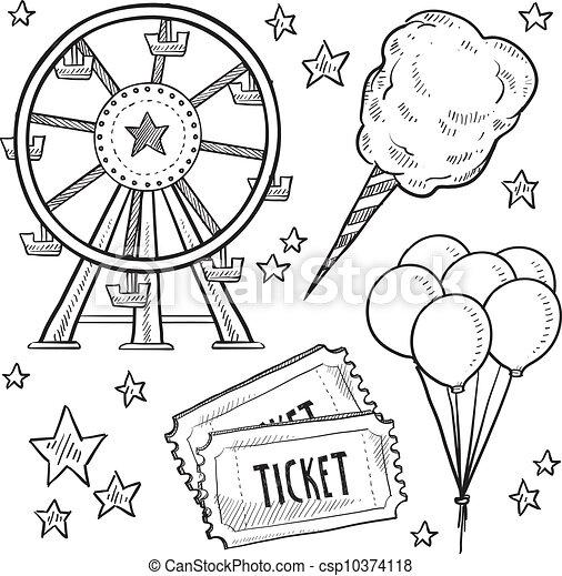 Carnival items sketch - csp10374118