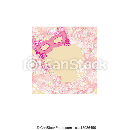 Carnival Mask - abstract floral card - csp18936490