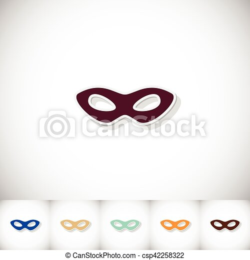 Carnival mask. Flat sticker with shadow on white background - csp42258322