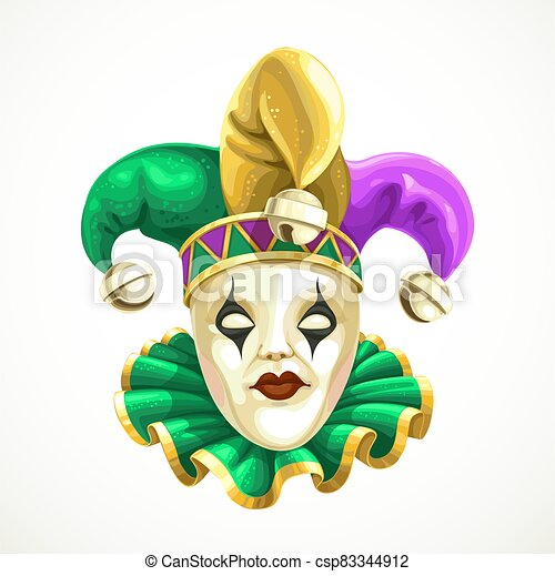 Carnival mask in a fool's cap with bells Mardi Gras isolated on white background - csp83344912