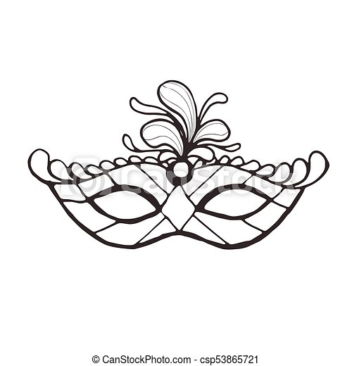 carnival mask isolated hand drawn carnival vector mask in line art