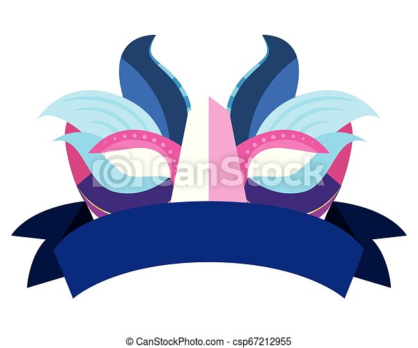 carnival mask ribbon on white background - csp67212955
