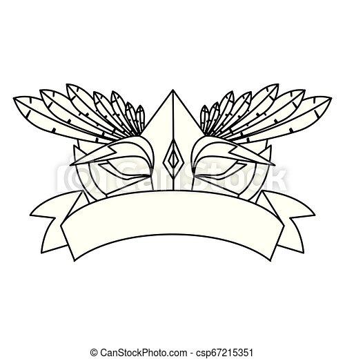 carnival mask ribbon on white background - csp67215351