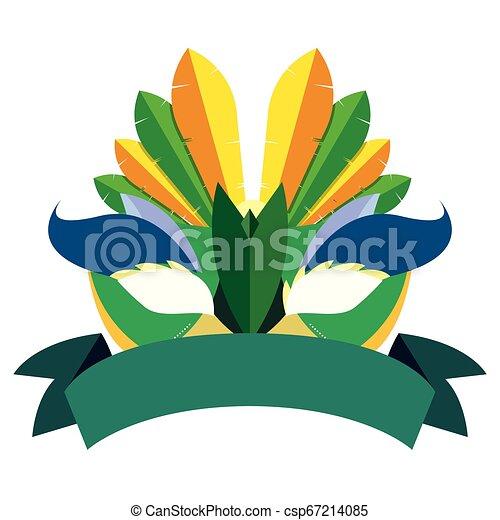 carnival mask ribbon on white background - csp67214085