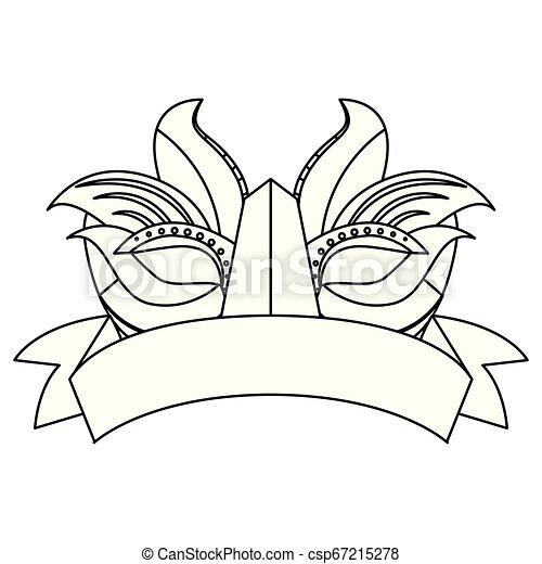carnival mask ribbon on white background - csp67215278