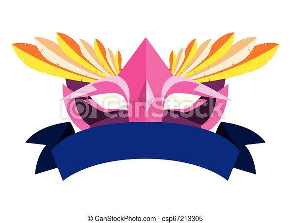 carnival mask ribbon on white background - csp67213305