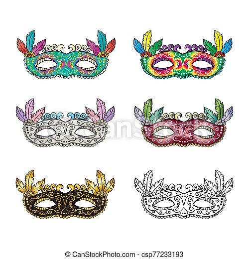 Carnival mask set on white background. - csp77233193