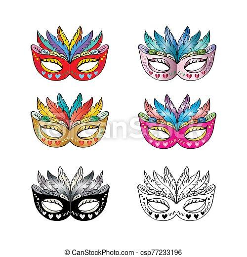 Carnival mask set on white background. - csp77233196