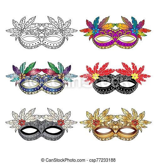 Carnival mask set on white background. - csp77233188