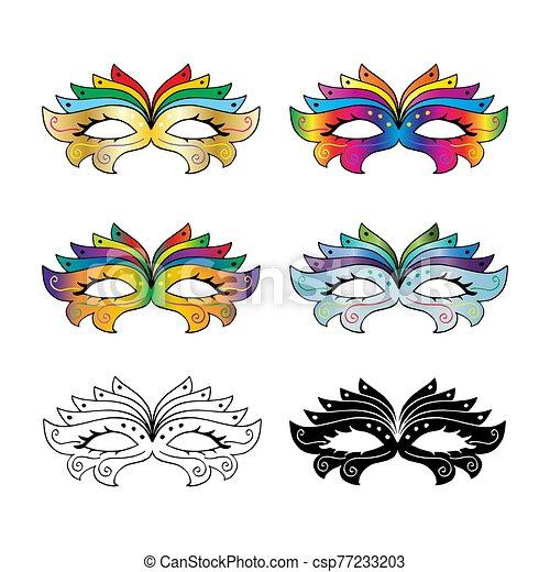 Carnival mask set on white background. - csp77233203