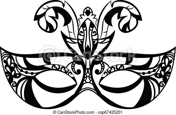 Carnival Mask with feathers on white background. Vector illustration . Mardi gras lace icon - csp67425201
