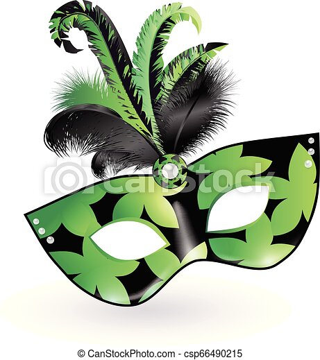Carnival Mask with green black lilac feathers on white background. Happy carnival festive concept. Vector illustration . Mardi gras - csp66490215