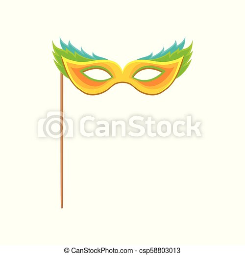 Carnival mask with stick, celebration party symbol vector Illustration on a white background - csp58803013