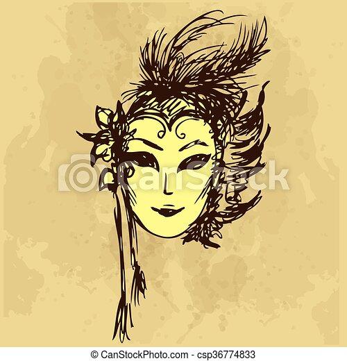 Carnival masks hand drawing - csp36774833