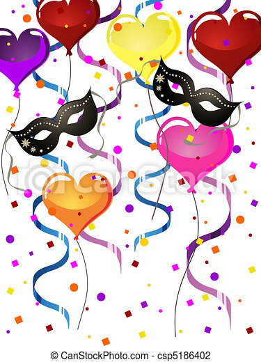 Carnival Party Vector Illustration Of Venetian Masks And Balloons