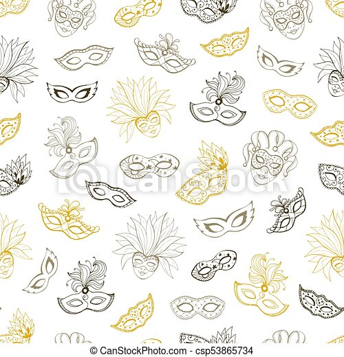 venetian carnival seamless pattern tiled background with masks for