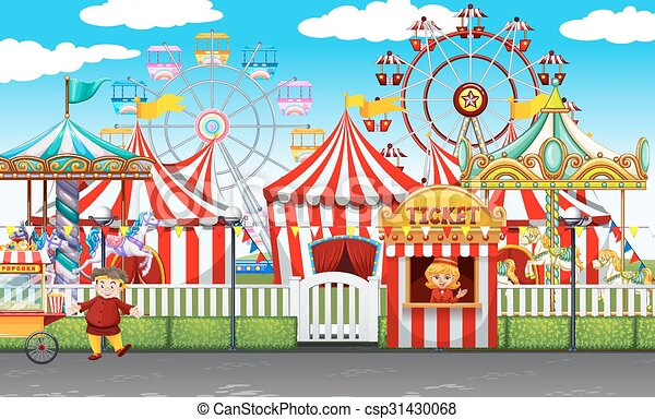 Carnival with many rides and shops - csp31430068