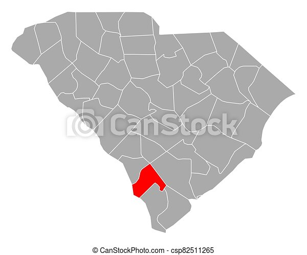 carolina, mapa, sur, hampton - csp82511265
