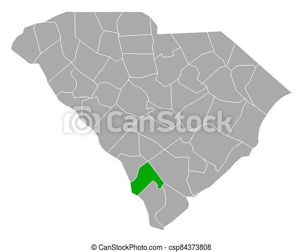 carolina, sur, mapa, hampton - csp84373808