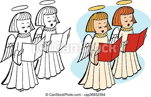Caroling Angels A Pair Of Sing Christmas Carols