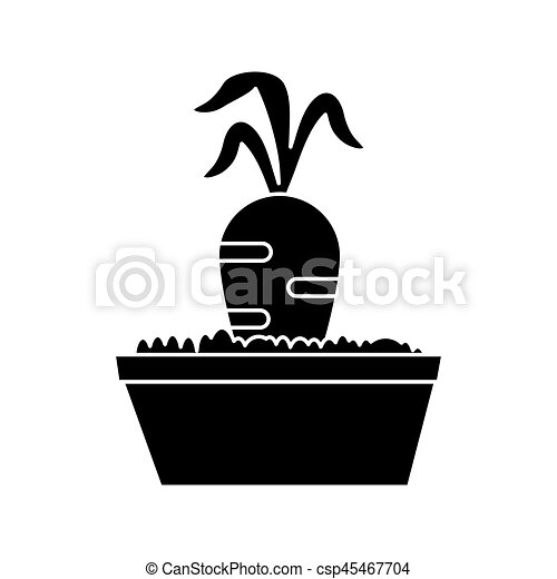carotte, jardin, lit, pictogramme - csp45467704
