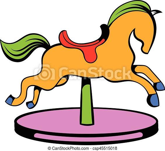 carousel horse icon icon cartoon carousel horse icon in vector rh canstockphoto com gold carousel horse clipart carousel horse clipart free
