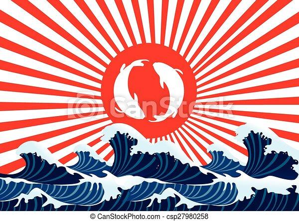 carp fish yin yang japanese graphic - csp27980258