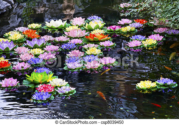 Carp Pond Colorful Artificial Water Lillies Jade Buddha Temple Jufo Si Shanghai China Most famous buddhist temple in Shanghai - csp8039450