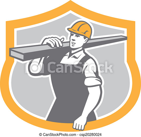 Carpenter Carry Lumber Shield Retro - csp20280024