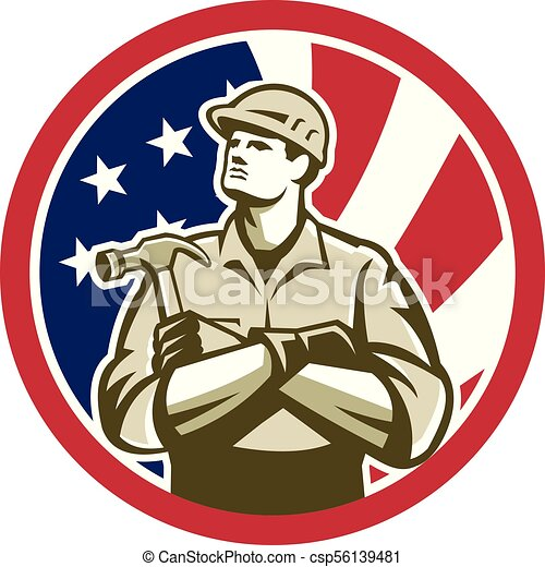 carpenter-crossarm-up CIRC GR USA-FLAG-ICON - csp56139481