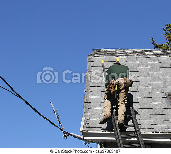 Carpenter on a roof - csp37063407