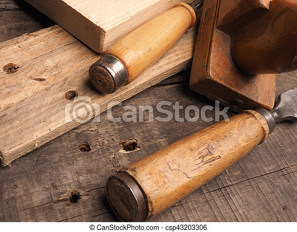 Carpenter Tools On A Wooden Table Wood Worker Tools On An Old
