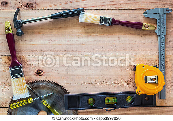 Carpenter Tools On Wood Board Use For As Background