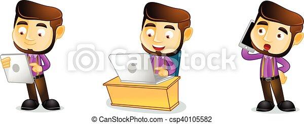 Carpenter with laptop vector - csp40105582