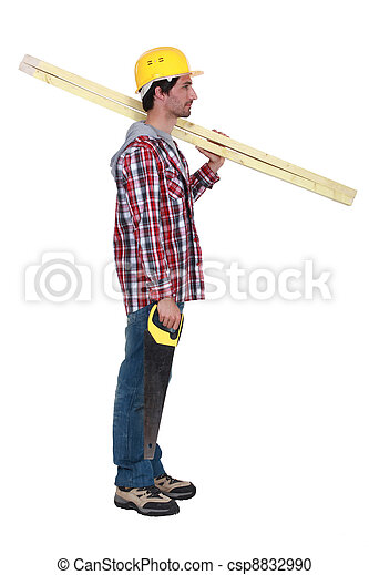 Carpenter with two planks of wood and a hand-saw - csp8832990