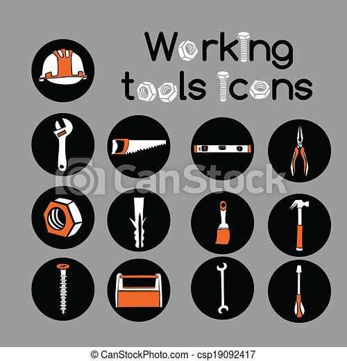 Carpenter Working Tools Icons Set - csp19092417