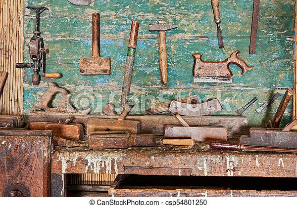 Carpenters Atelier Vieux Ancien Vieux Banc Travail Bois
