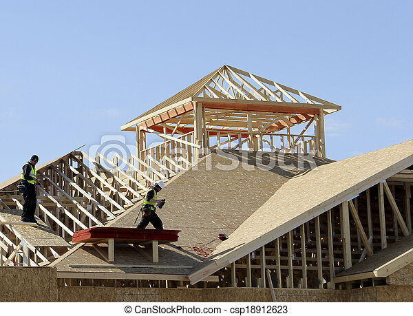 carpenters on the roof - csp18912623