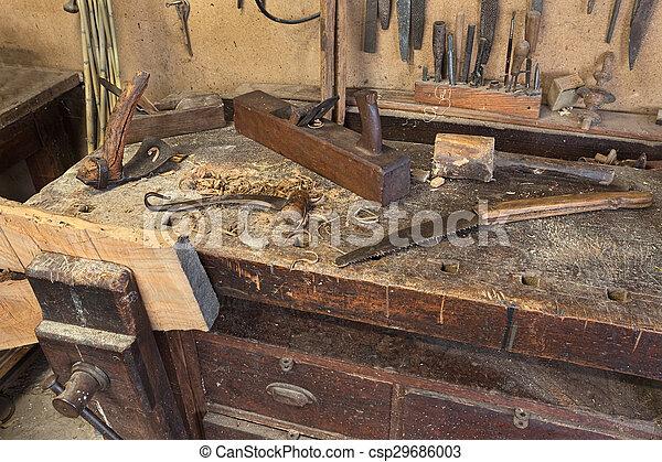 Carpenters Vieux Banc Antiquité Ancien Vieux Banc Travail