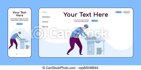 Carpentry adaptive landing page flat color vector template. Circular saw work mobile and PC homepage layout. Repairman one page website UI. Home repairs webpage cross platform design - csp80048644