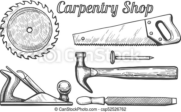 Carpentry Shop Icons Vector Illustration Of Woodworking Or