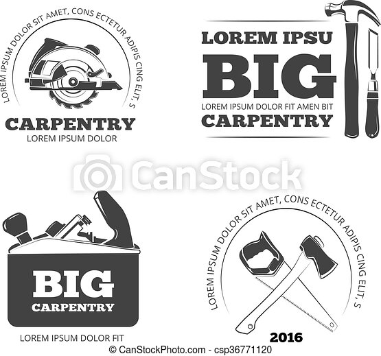 Carpentry Workshop Vector Labels Logos Badges And Emblems With Carpentry Tools